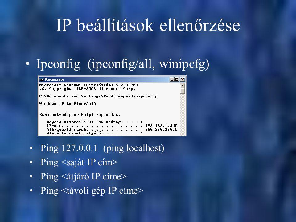IP beállítások ellenőrzése