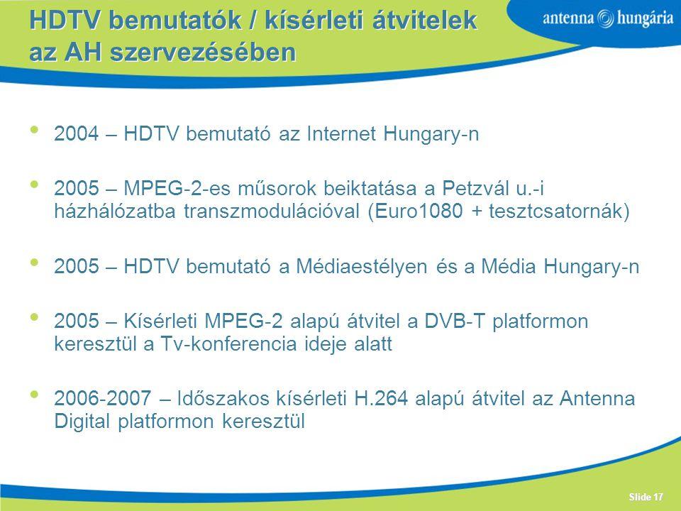 HDTV bemutatók / kísérleti átvitelek az AH szervezésében