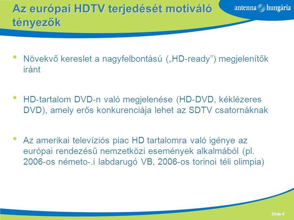 Az európai HDTV terjedését motiváló tényezők