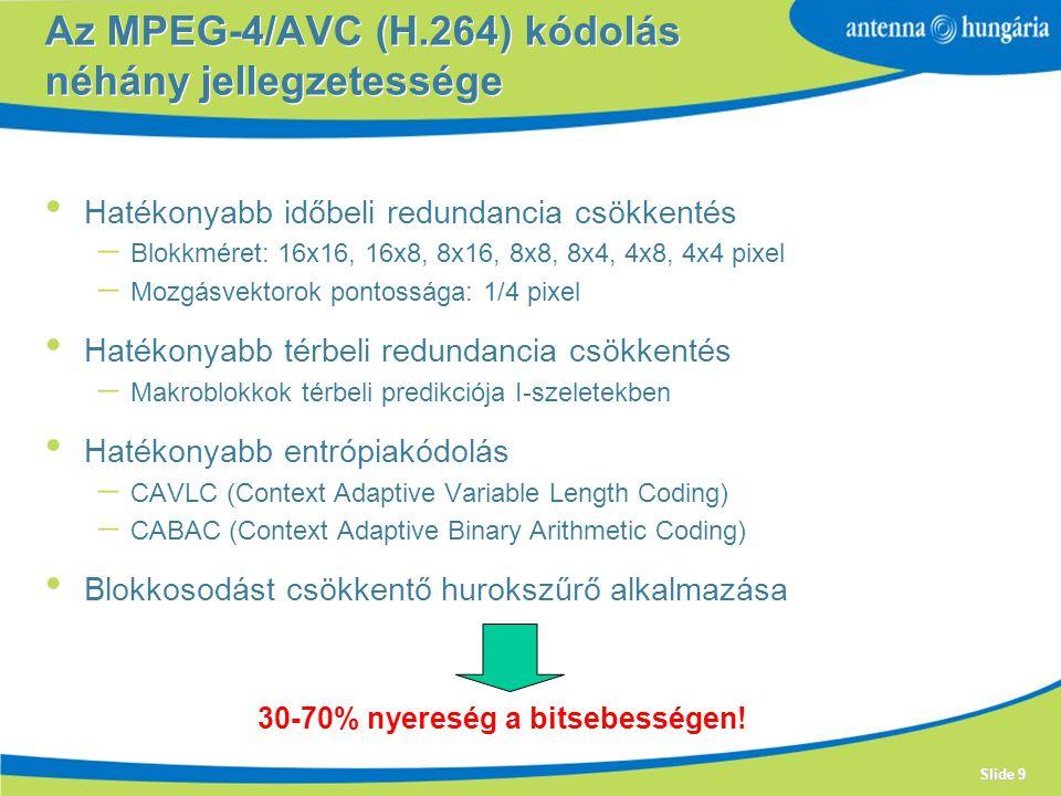 Az MPEG-4/AVC (H.264) kódolás néhány jellegzetessége