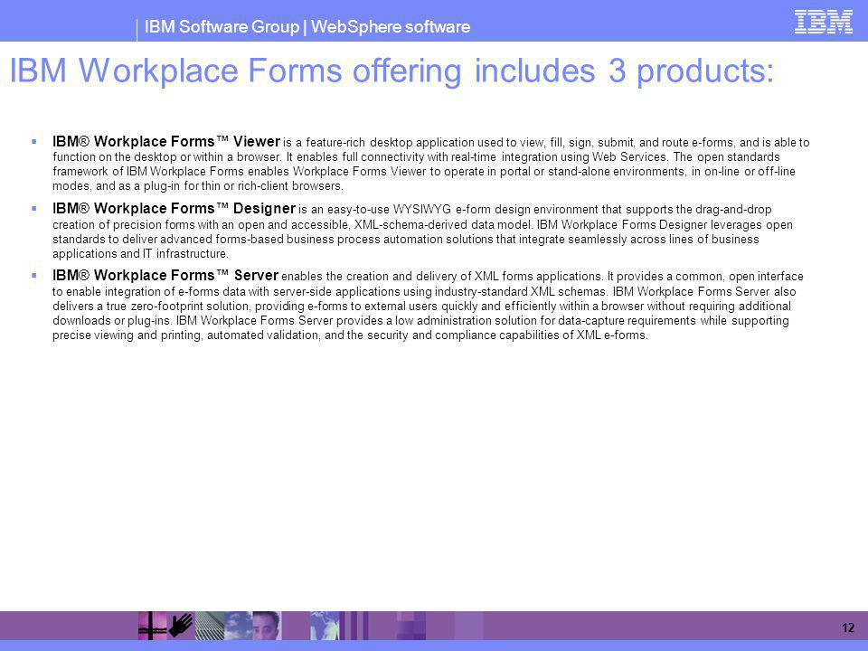 IBM Workplace Forms offering includes 3 products: