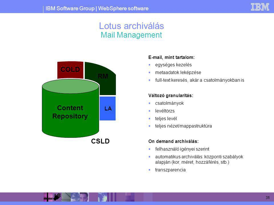 Lotus archiválás Mail Management