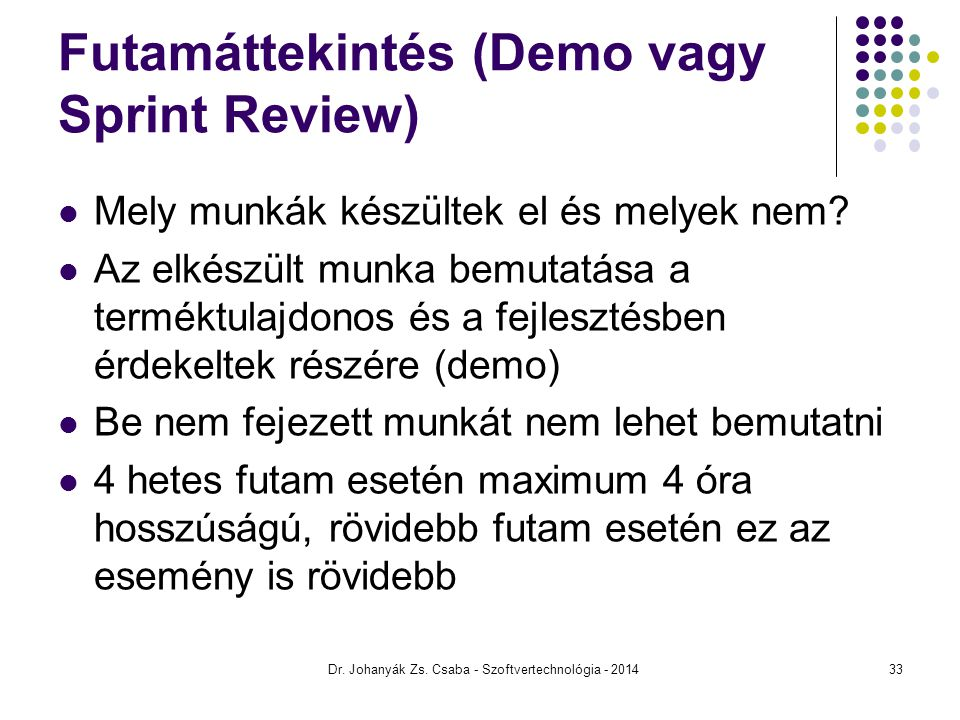 Futamáttekintés (Demo vagy Sprint Review)