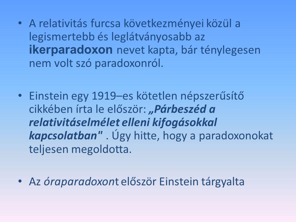 A relativitás furcsa következményei közül a legismertebb és leglátványosabb az ikerparadoxon nevet kapta, bár ténylegesen nem volt szó paradoxonról.