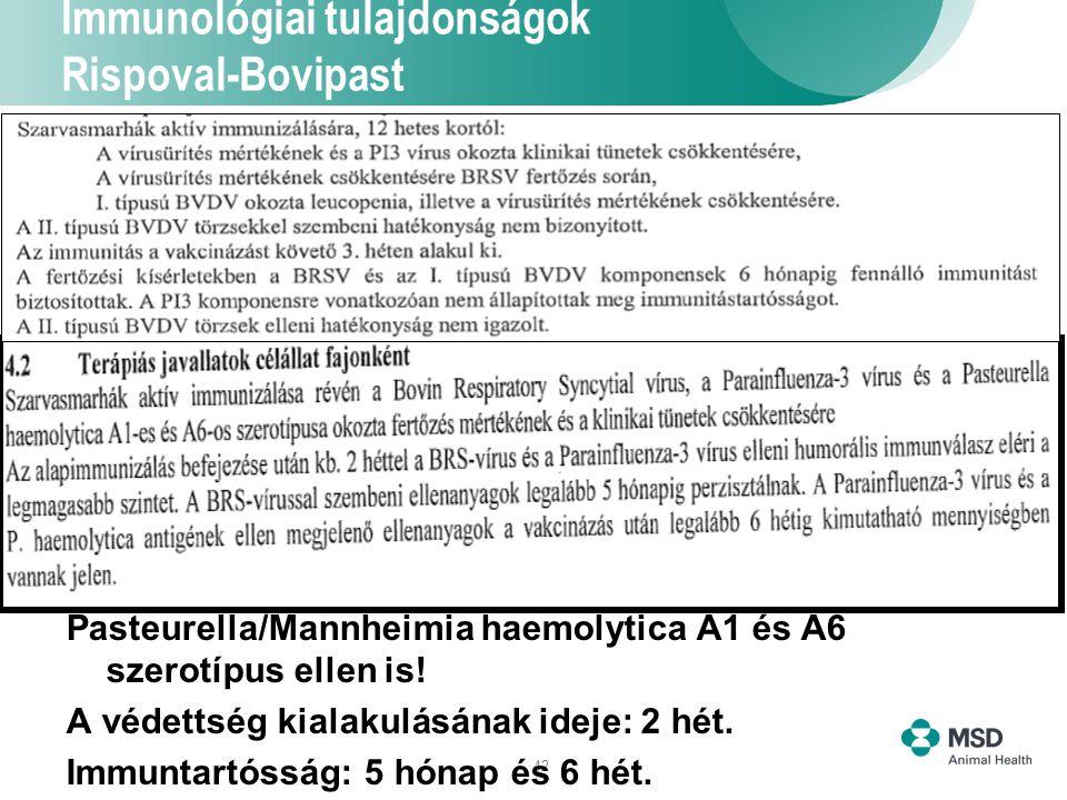Immunológiai tulajdonságok Rispoval-Bovipast