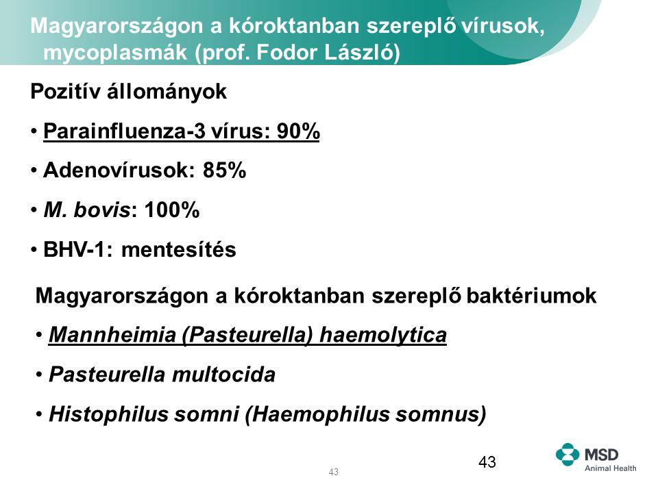 Magyarországon a kóroktanban szereplő vírusok, mycoplasmák (prof