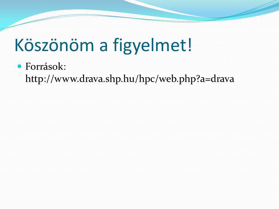 Köszönöm a figyelmet! Források: http://www.drava.shp.hu/hpc/web.php a=drava