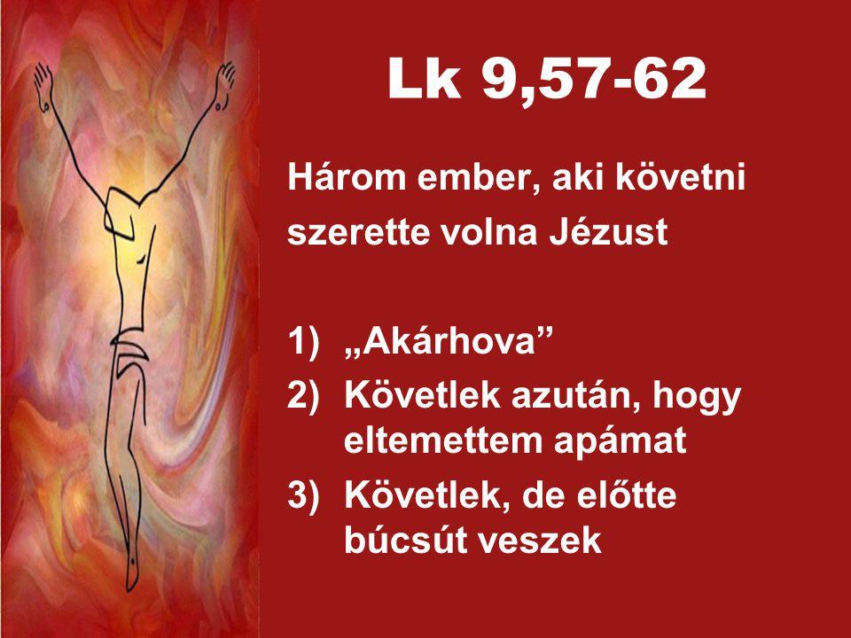 """Lk 9,57-62 Három ember, aki követni szerette volna Jézust """"Akárhova"""