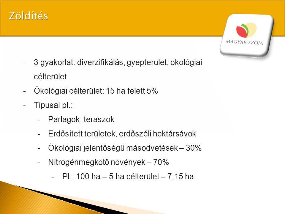 Zöldítés 3 gyakorlat: diverzifikálás, gyepterület, ökológiai célterület. Ökológiai célterület: 15 ha felett 5%