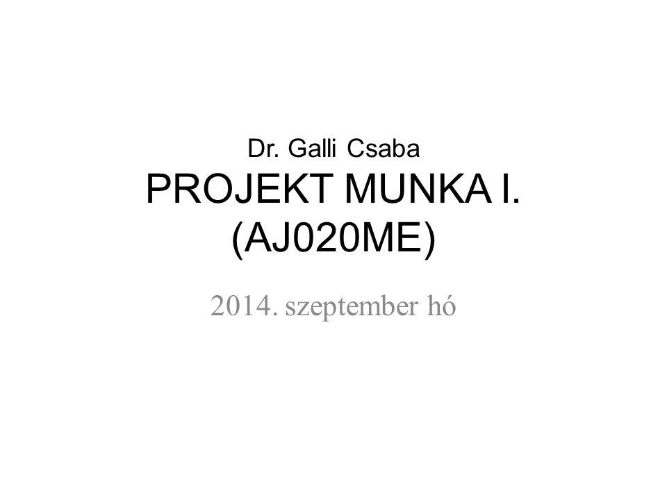 Dr. Galli Csaba PROJEKT MUNKA I. (AJ020ME)