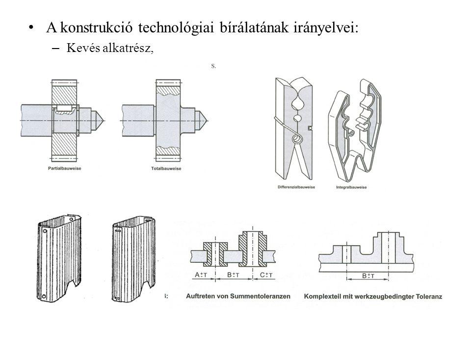 A konstrukció technológiai bírálatának irányelvei: