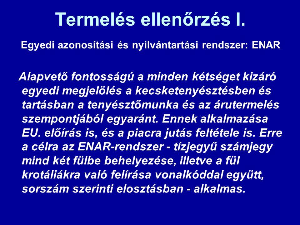 Termelés ellenőrzés I. Egyedi azonosítási és nyilvántartási rendszer: ENAR.