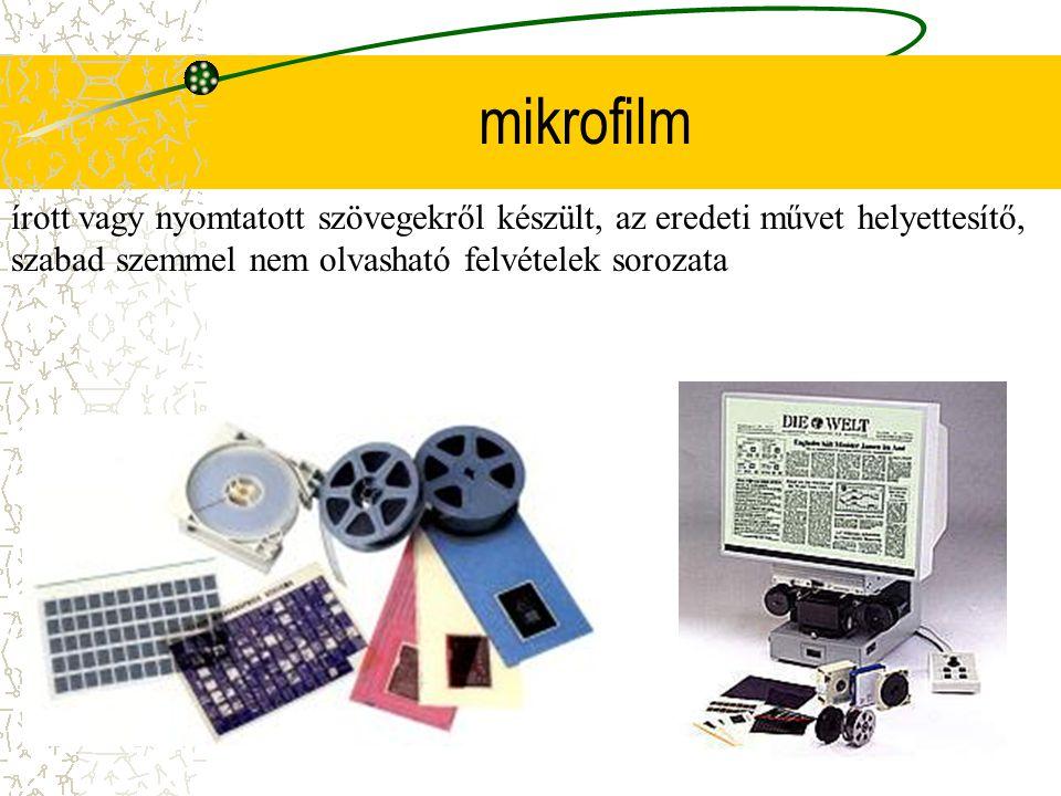 mikrofilm írott vagy nyomtatott szövegekről készült, az eredeti művet helyettesítő, szabad szemmel nem olvasható felvételek sorozata.