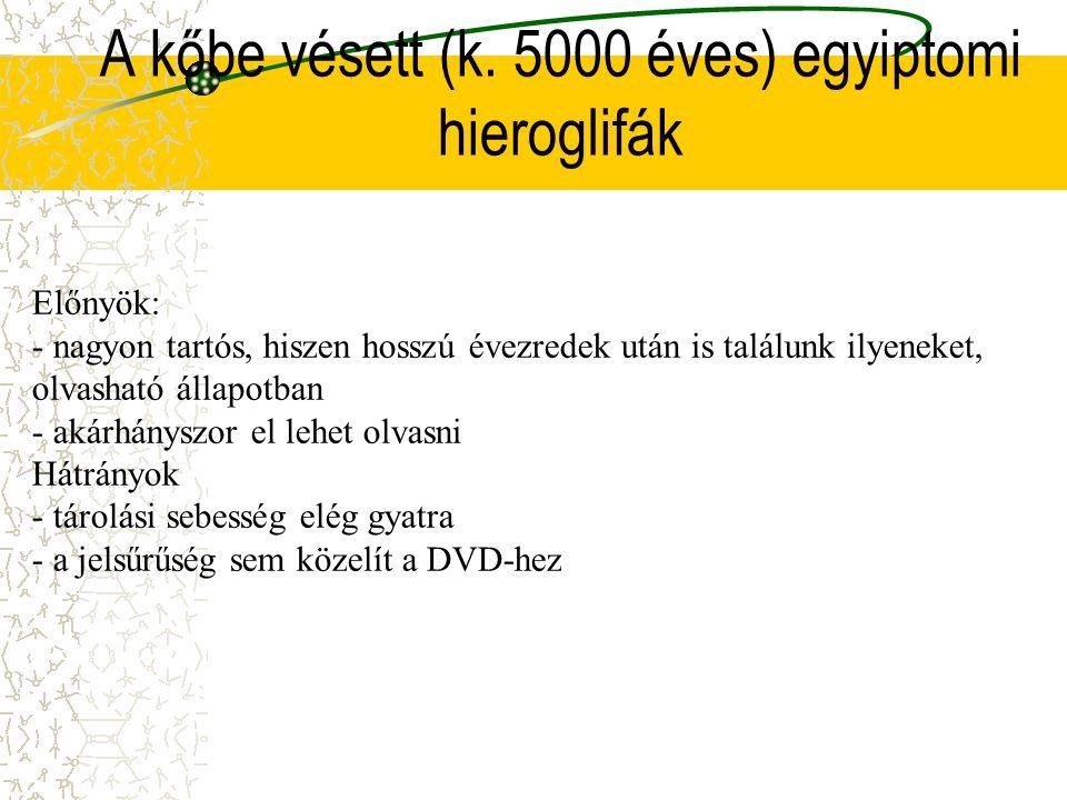 A kőbe vésett (k. 5000 éves) egyiptomi hieroglifák