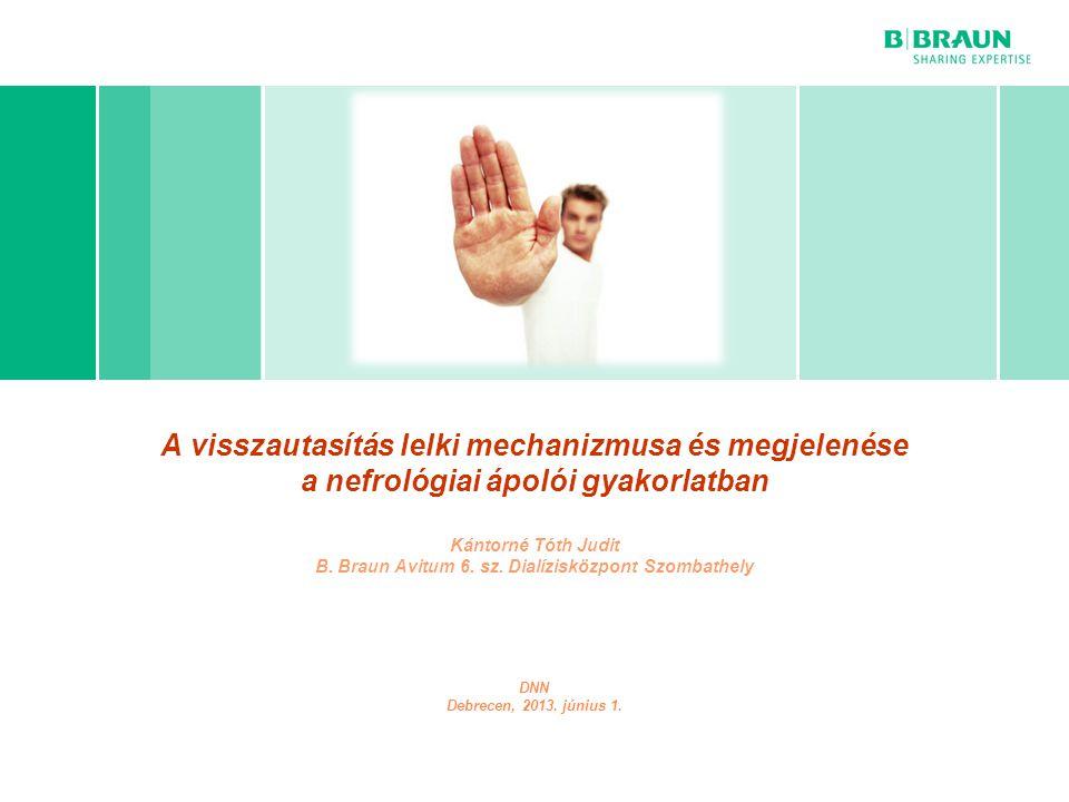 A visszautasítás lelki mechanizmusa és megjelenése a nefrológiai ápolói gyakorlatban Kántorné Tóth Judit B. Braun Avitum 6. sz. Dialízisközpont Szombathely