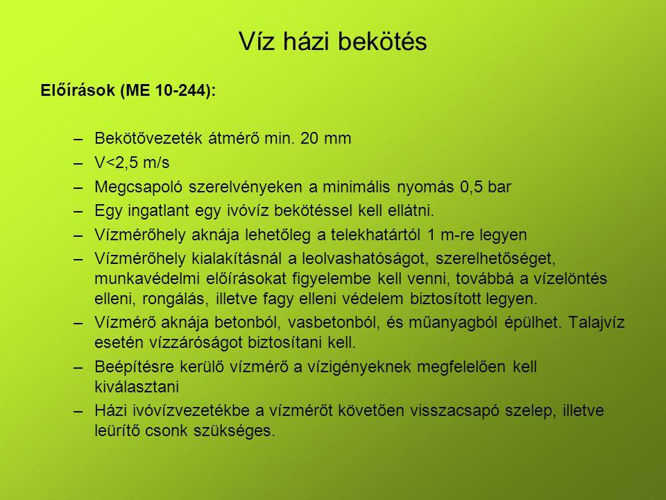 Víz házi bekötés Előírások (ME 10-244):