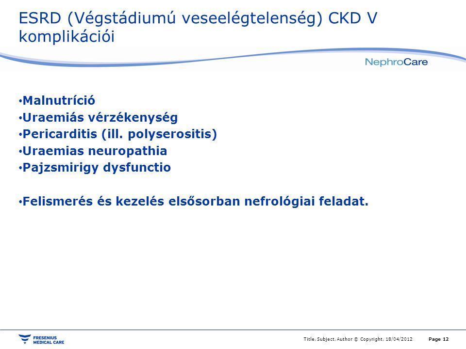 ESRD (Végstádiumú veseelégtelenség) CKD V komplikációi