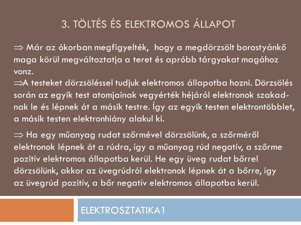 3. Töltés és ELEKTROMOS állapot