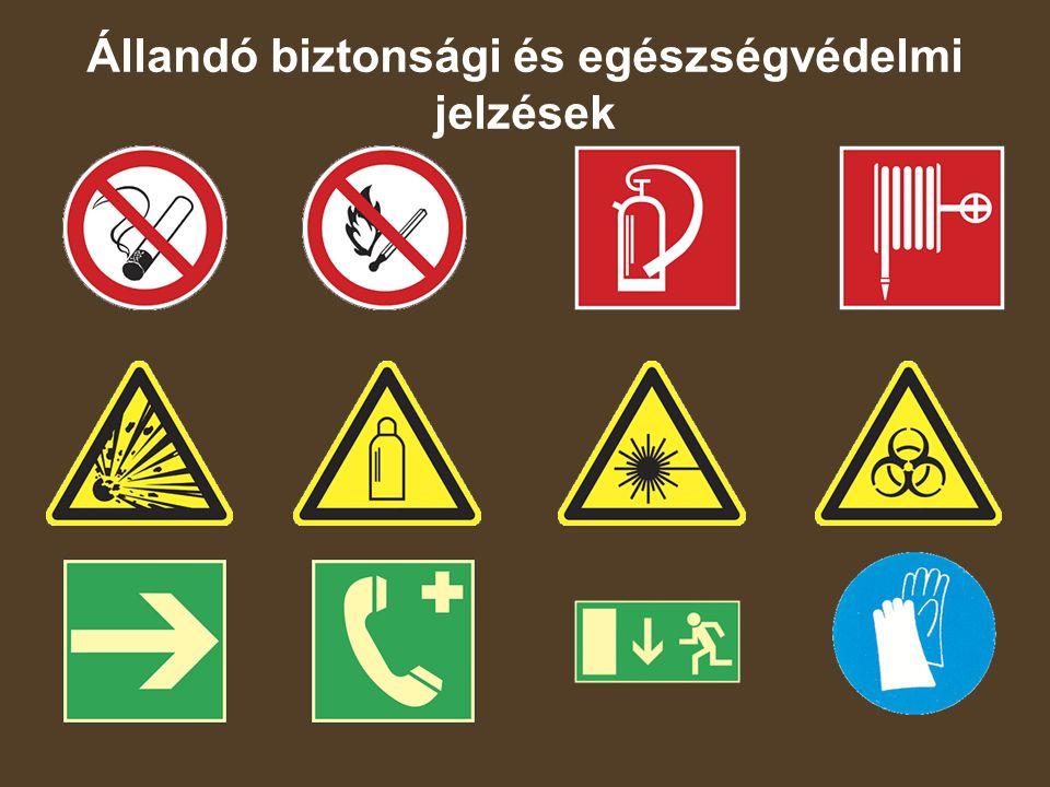 Állandó biztonsági és egészségvédelmi jelzések