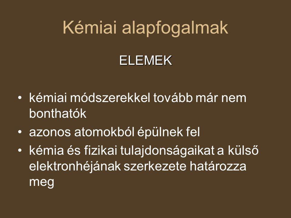 Kémiai alapfogalmak ELEMEK