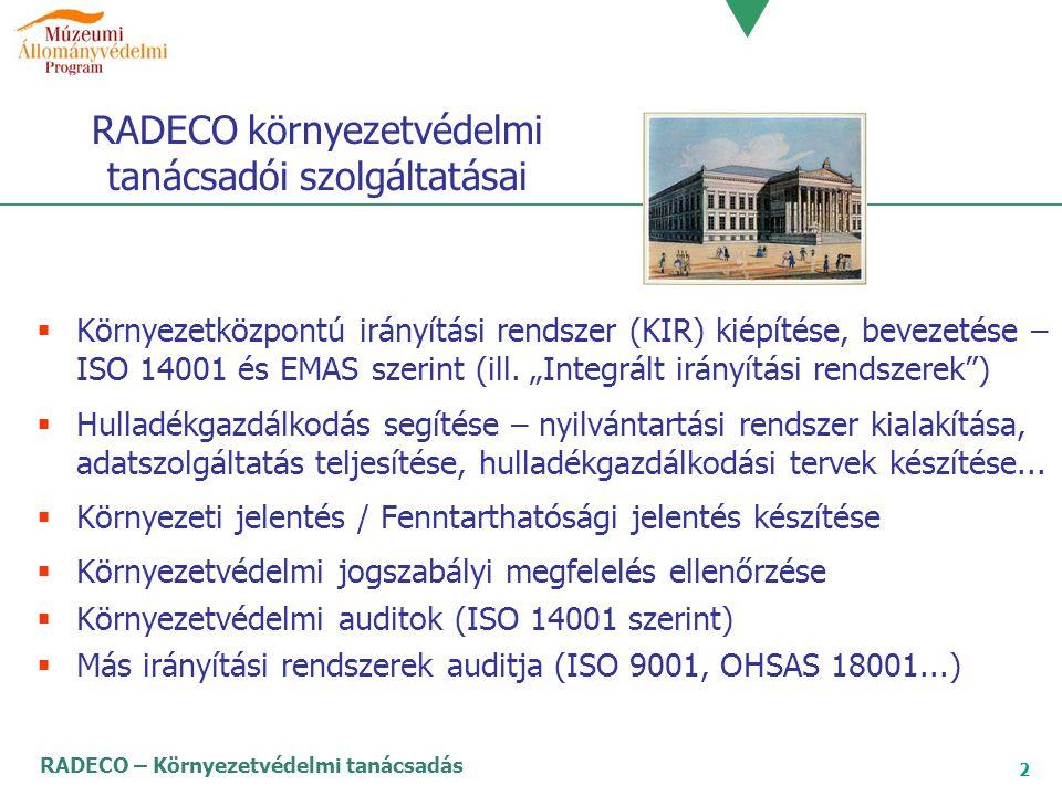 RADECO környezetvédelmi tanácsadói szolgáltatásai