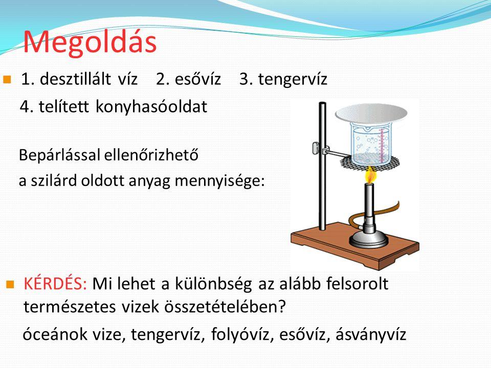 Megoldás 1. desztillált víz 2. esővíz 3. tengervíz