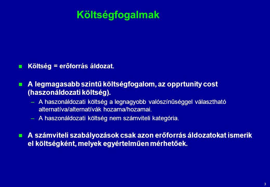Költségfogalmak Költség = erőforrás áldozat. A legmagasabb szintű költségfogalom, az opprtunity cost (haszonáldozati költség).