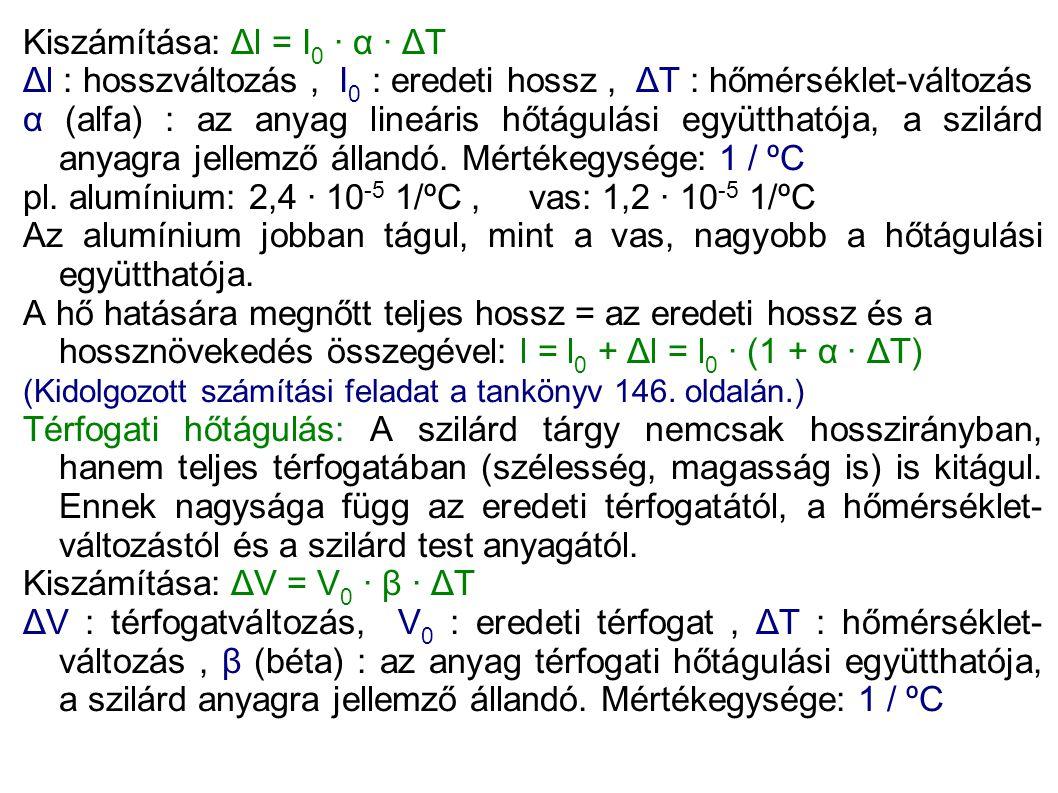 Kiszámítása: Δl = I0 · α · ΔT