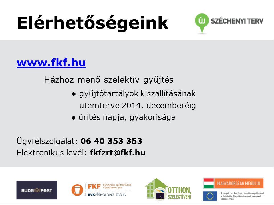 Elérhetőségeink www.fkf.hu Házhoz menő szelektív gyűjtés