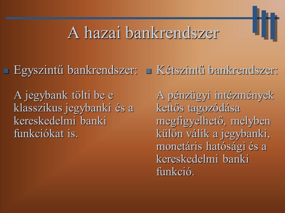 A hazai bankrendszer Egyszintű bankrendszer: A jegybank tölti be e klasszikus jegybanki és a kereskedelmi banki funkciókat is.