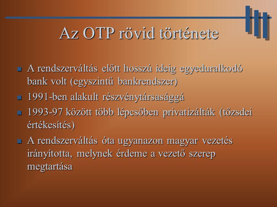 Az OTP rövid története A rendszerváltás előtt hosszú ideig egyeduralkodó bank volt (egyszintű bankrendszer)