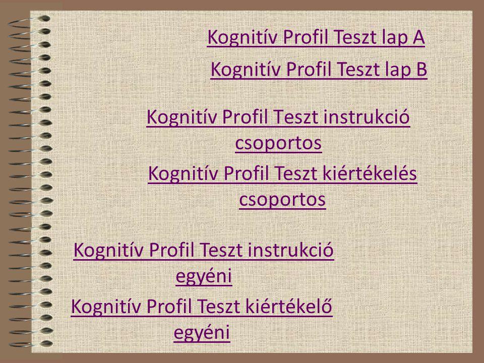 Kognitív Profil Teszt instrukció csoportos