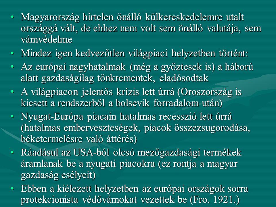 Magyarország hirtelen önálló külkereskedelemre utalt országgá vált, de ehhez nem volt sem önálló valutája, sem vámvédelme