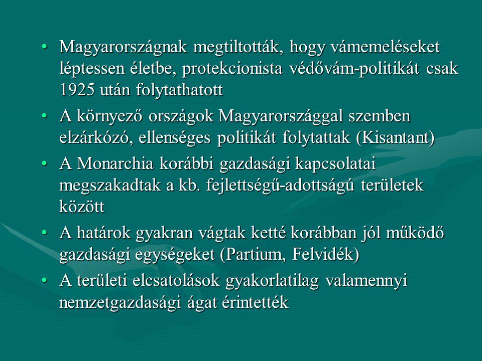 Magyarországnak megtiltották, hogy vámemeléseket léptessen életbe, protekcionista védővám-politikát csak 1925 után folytathatott