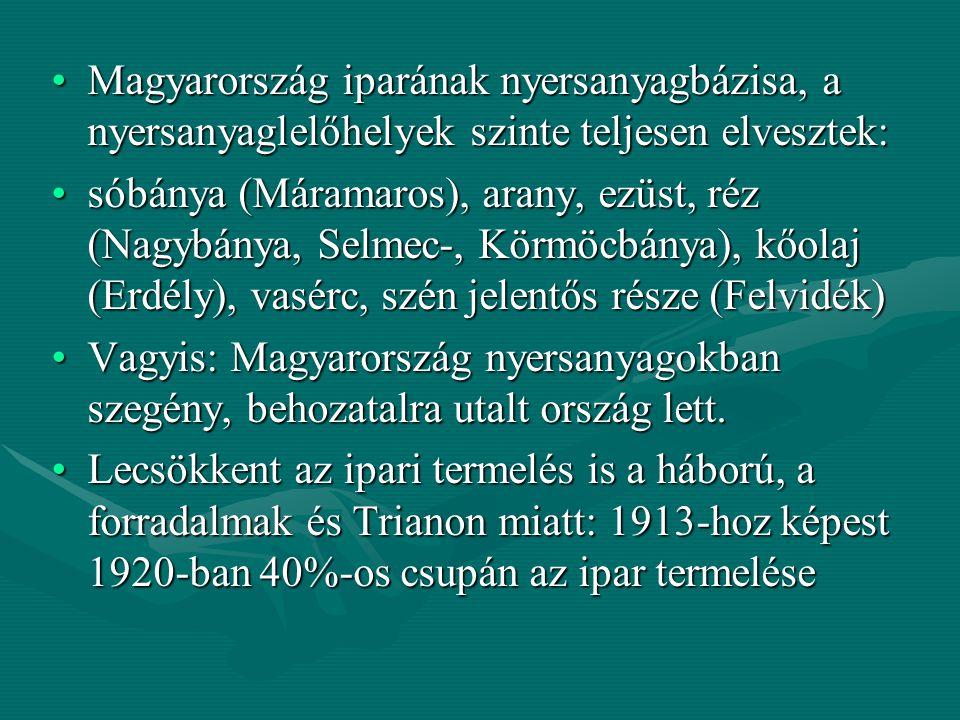Magyarország iparának nyersanyagbázisa, a nyersanyaglelőhelyek szinte teljesen elvesztek: