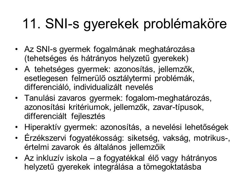 11. SNI-s gyerekek problémaköre