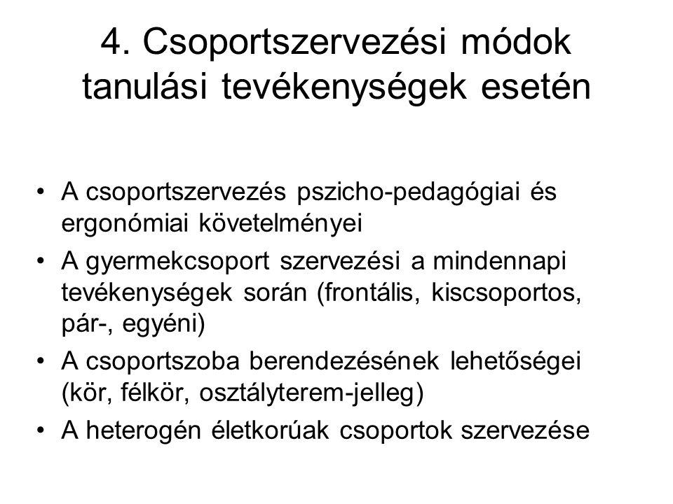 4. Csoportszervezési módok tanulási tevékenységek esetén