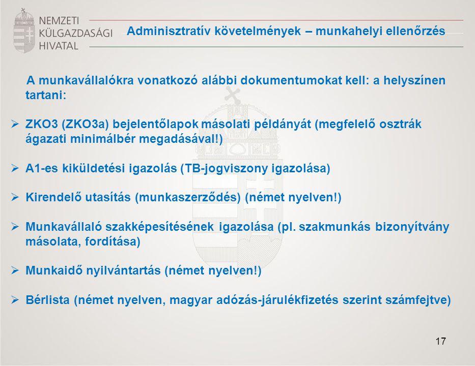 Adminisztratív követelmények – munkahelyi ellenőrzés