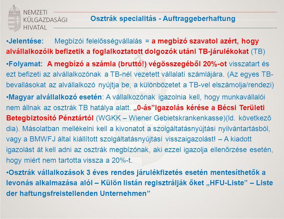 Osztrák specialitás - Auftraggeberhaftung