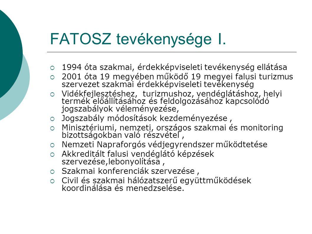 FATOSZ tevékenysége I. 1994 óta szakmai, érdekképviseleti tevékenység ellátása.