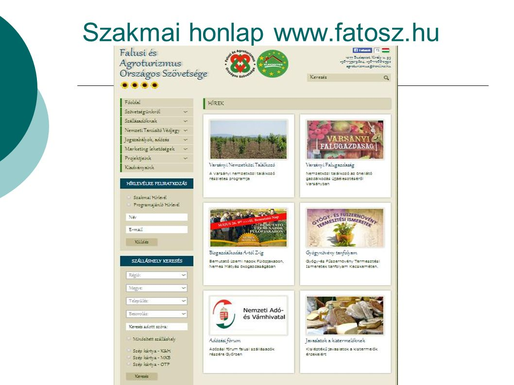 Szakmai honlap www.fatosz.hu