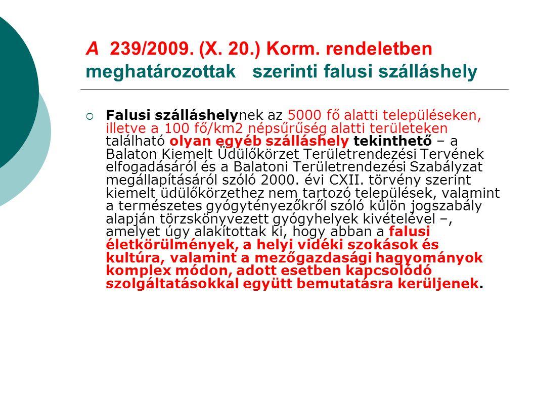 A 239/2009. (X. 20.) Korm. rendeletben meghatározottak szerinti falusi szálláshely