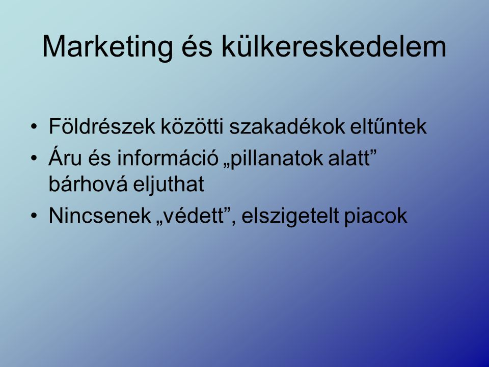Marketing és külkereskedelem