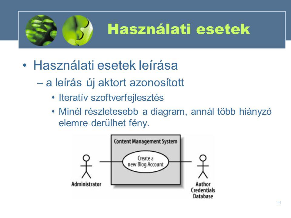 Használati esetek Használati esetek leírása
