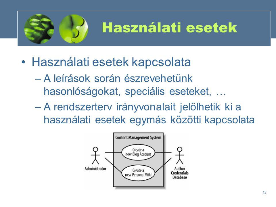 Használati esetek Használati esetek kapcsolata