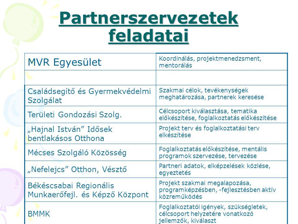 Partnerszervezetek feladatai