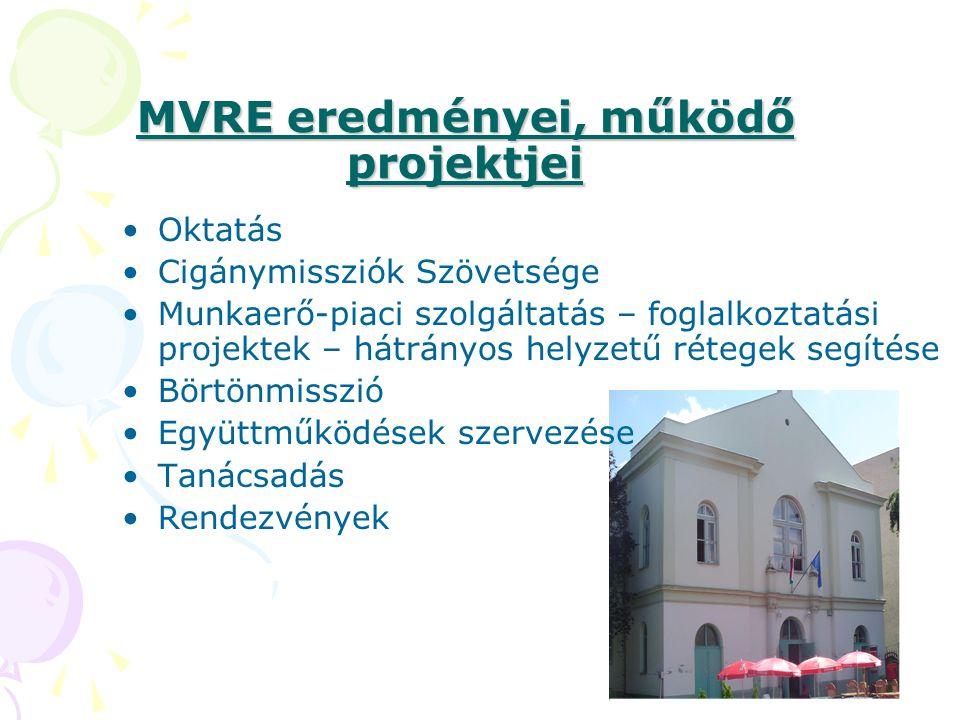 MVRE eredményei, működő projektjei