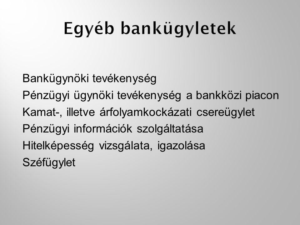 Egyéb bankügyletek Bankügynöki tevékenység