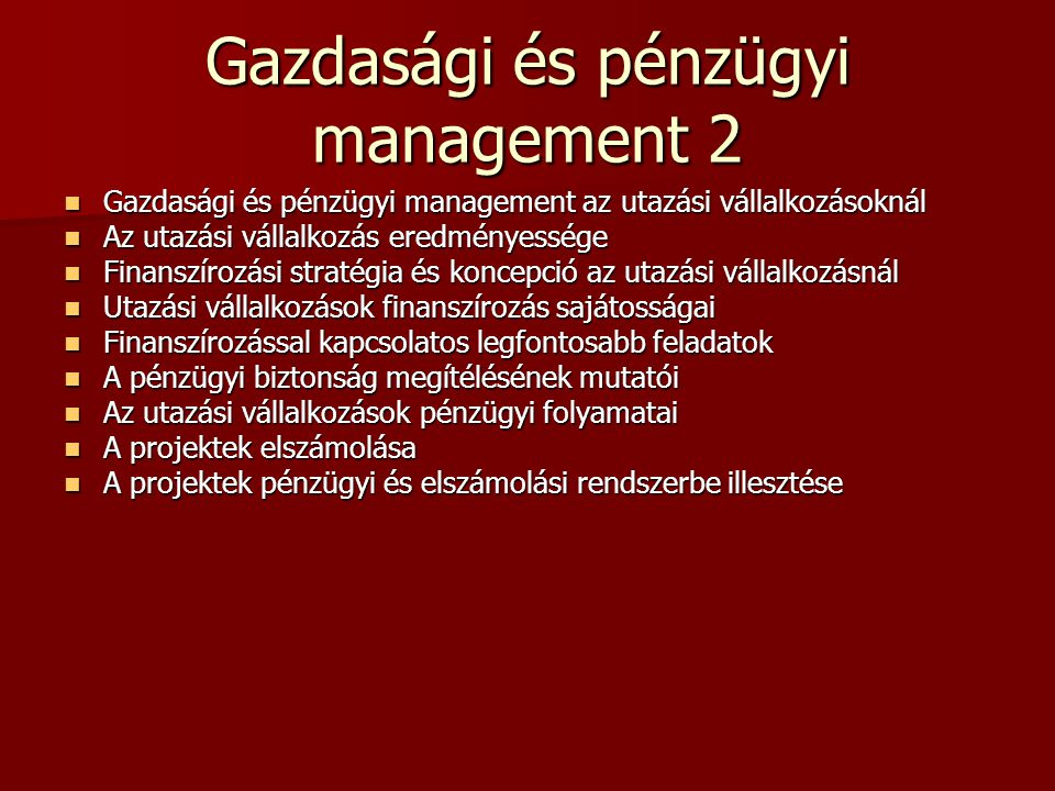 Gazdasági és pénzügyi management 2