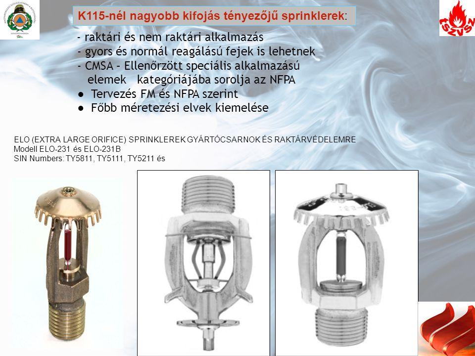 K115-nél nagyobb kifojás tényezőjű sprinklerek:
